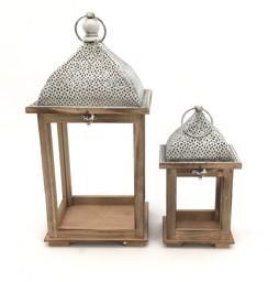Lanterne x 2 quadre con tetto arabesque H 44 e H 27,5 - Sconti per Fioristi e Aziende