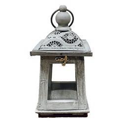 Lanterna piramide tetto traforato bianco e grigio H 25 - Sconti per Fioristi e Aziende