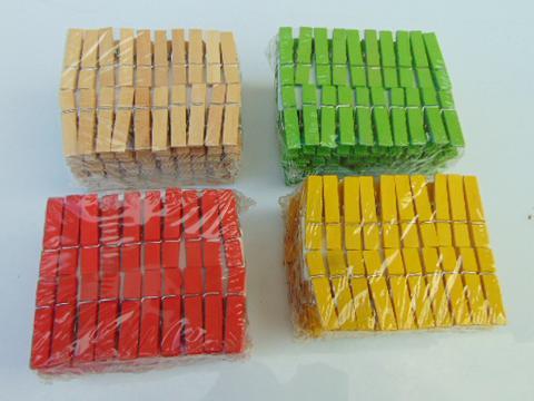 Mollette legno cm. 3,5 naturali e colorati Conf. 100 pezzi