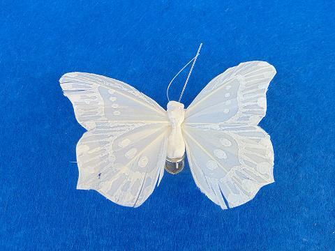 Farfalle Bianca x 12  floccata con clip - Sconti per Fioristi e Aziende