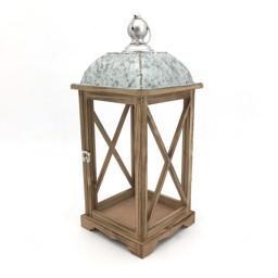 Lanterna quadrata naturale e bianca H 48,5 - Sconti per Fioristi e Aziende