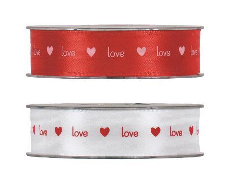 Nastro Doppio Raso H 25 stampa Love Articolo per San Valentino - Sconti per Fioristi e Aziende