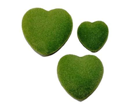 Cuore  verde muschiato velvet cm. 8 - 12 - 15 Articolo per S. Valentino - Sconti per Fioristi e Aziende