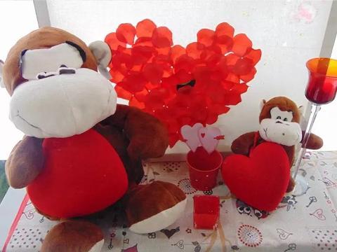 Peluches Scimmia con cuore vellutato Articolo per S. Valentino - Sconti per Fioristi e Aziende