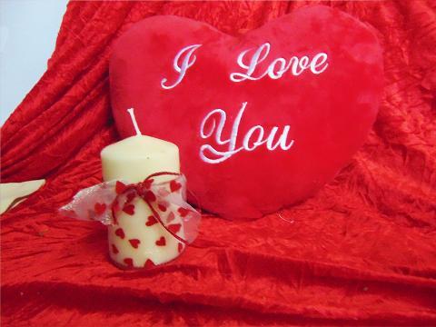 Moccolo con Nastro Cuori H 9 dm. 5,5 Articolo per San Valentino - Sconti per Fioristi e Aziende