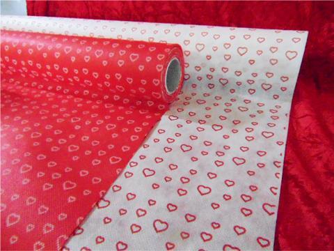 Bobina TNT Cuori H 80 da 10 metri Rossa - Bianca Articolo per San Valentino - Sconti per Fioristi e Aziende