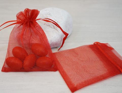 Sacchetto Laurea Rosso cm. 8,5x 3,5 in organza - Sconti per Fioristi e Aziende e Wedding