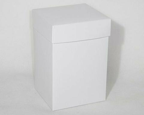 Scatola per bomboniera pieghevole lino bianco H 30 cm. 8 x 8 - Sconti per Fioristi, e Aziende