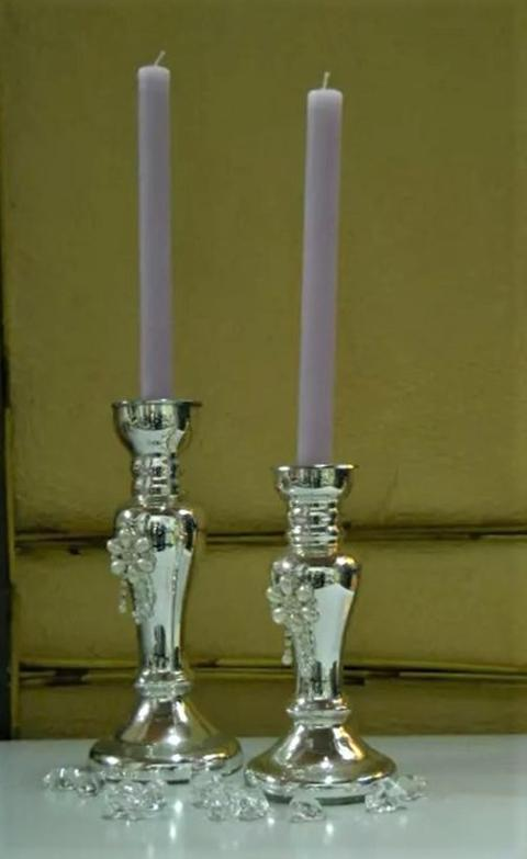Candelabro in vetro argentato con perle in 2 misure - Sconti per Fioristi e Aziende
