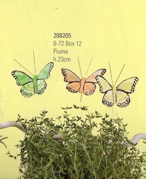 Farfalle in piuma  x 12 in 3 colori