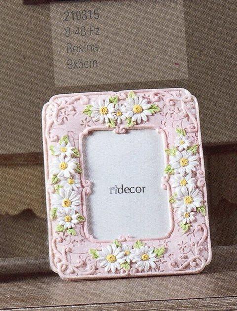 Cornice Portafoto Rosa cm. 9 x 6 in resina
