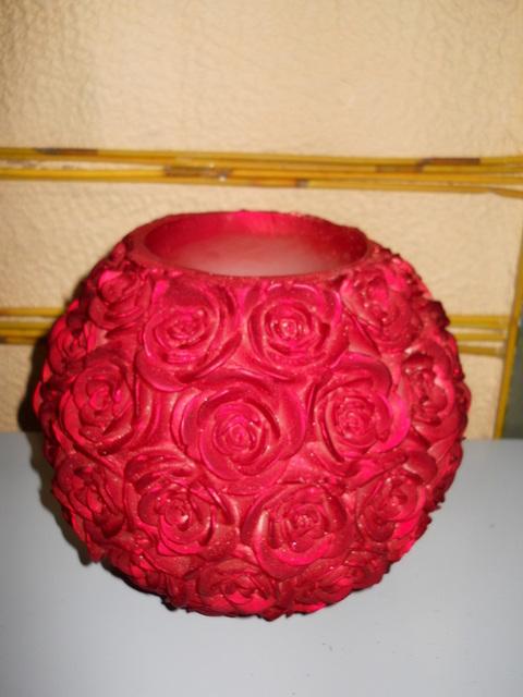Candela vuota  con Rose a Rilievo  Diametro cm.23