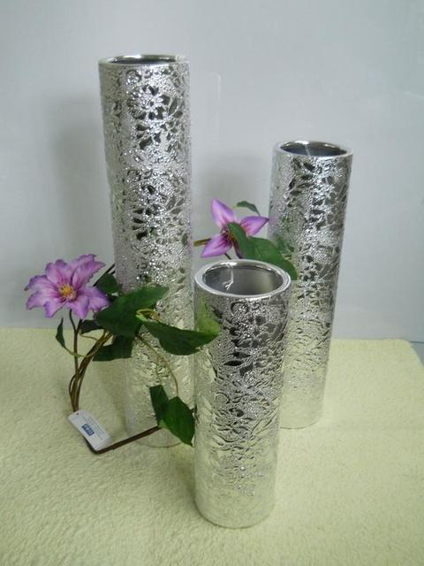 Vasi Cilindro Nefertiti argento  in 3 misure