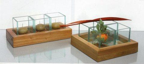 Lume vetro - legno  Modello Flamma 3 - Sconti per Fioristi e Aziende