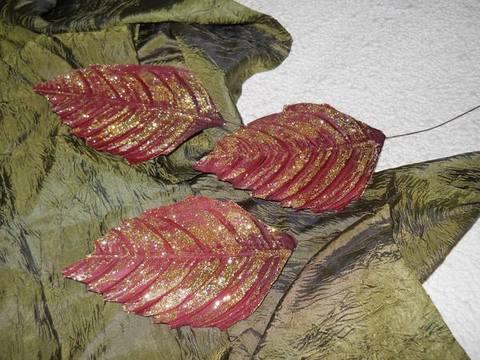 Foglie di faggio x 12 Boedeaux glitterate