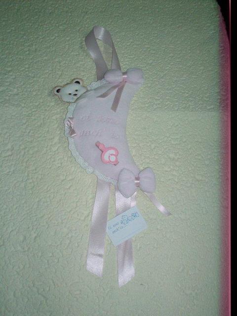 Fiocco nascita Luna Ciniglia Rosa imbottito