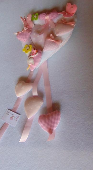 Fiocco Nascita Cuore Rosa in feltro