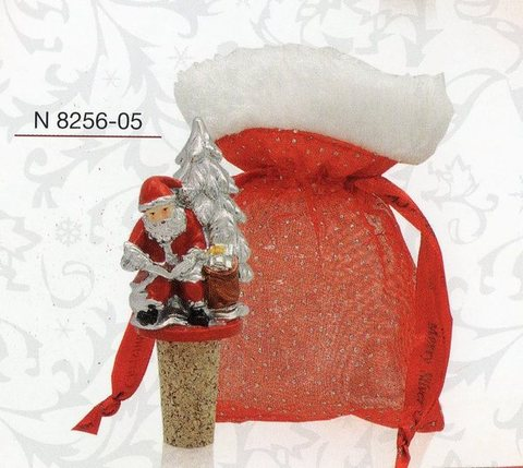 Tappo Babbo Natale argento H 11  in 6 modelli