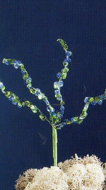 Ramo paillettes x 4   H 20 Verde Blu