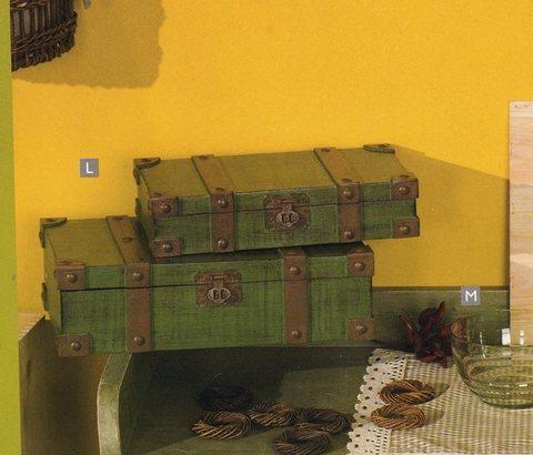 Bauli verdi x 2 in legno  finiture metallo - Sconti per Fioristi e Aziende