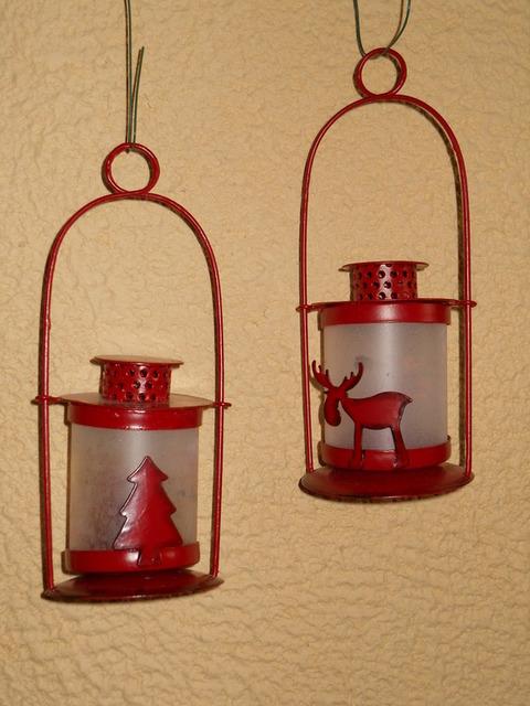 Lanterna in latta  rossa - Sconti per Fioristi e Aziende