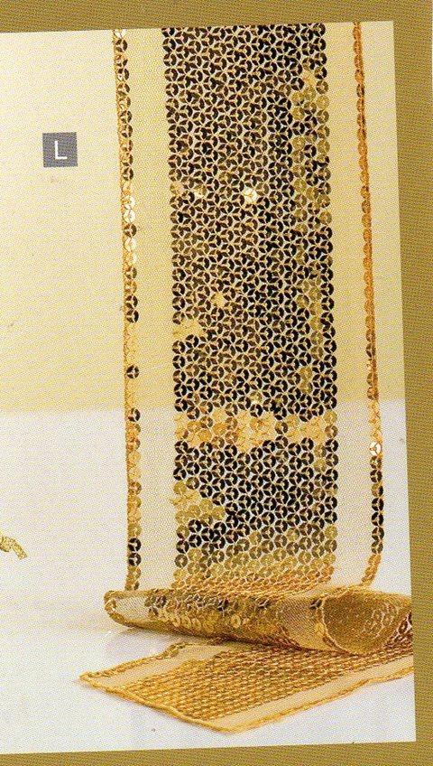 Fascia Centrotavola  Oro H 10 x 180  c/paillettes oro