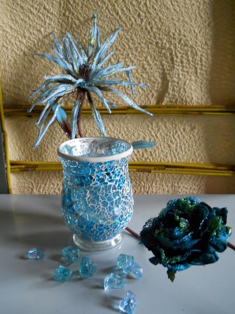 Vaso vetro   mosaico H 15