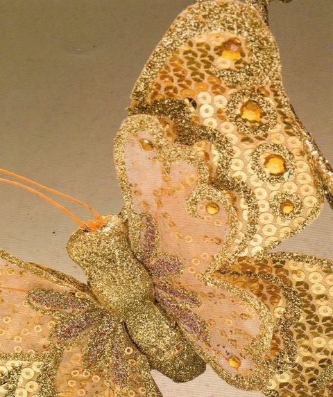 Farfalla Oro cm.23 x 18 decorata con paillettes oro