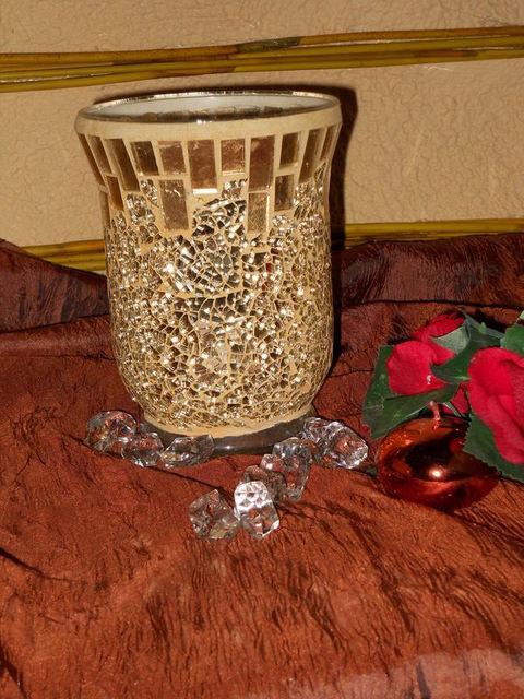 Vaso vetro Oro  H 15 x 11 Crush