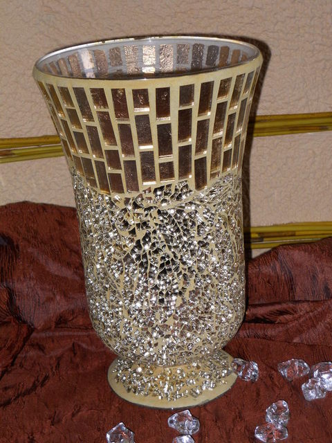 Vaso vetro Oro  H 27 x 16 Crush