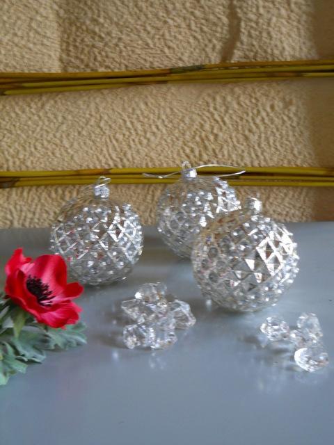 Palline dm. 8 in vetro con strass conf. da 4 - Sconti per Fioristi e Aziende