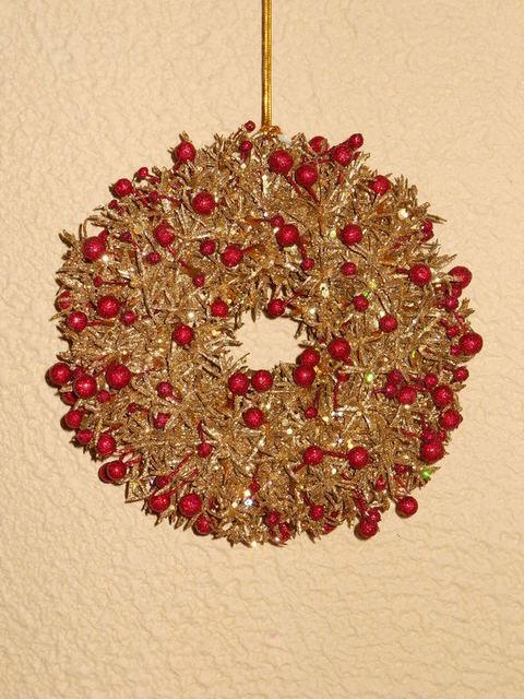 Coroncina natalizia  Berry Wreath Oro cm. 18