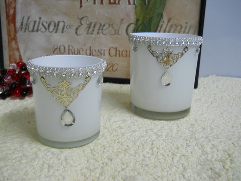 Vasetto Porta candela in vetro bianco Decorato in 2 misure