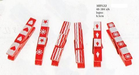 Mollette in legno x 8 natalizie stampate - Sconti per Fioristi e Aziende