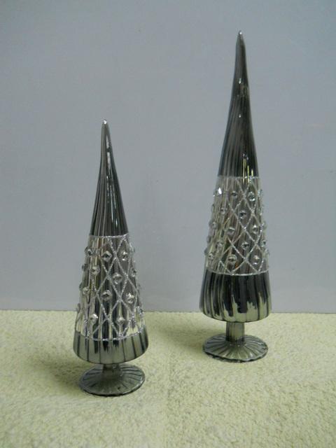 Albero Vetro a cono con strass  in 2 altezze