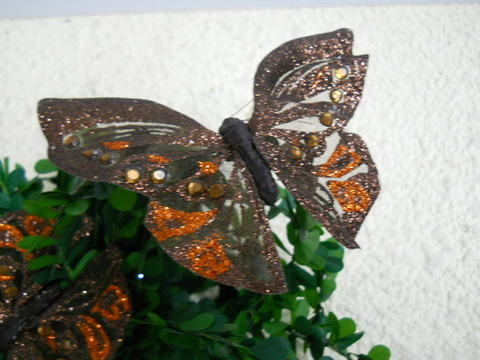 Farfalle x 12 Bronzo  Brillante cm. 18 x 11 - Sconti per Fioristi e Aziende