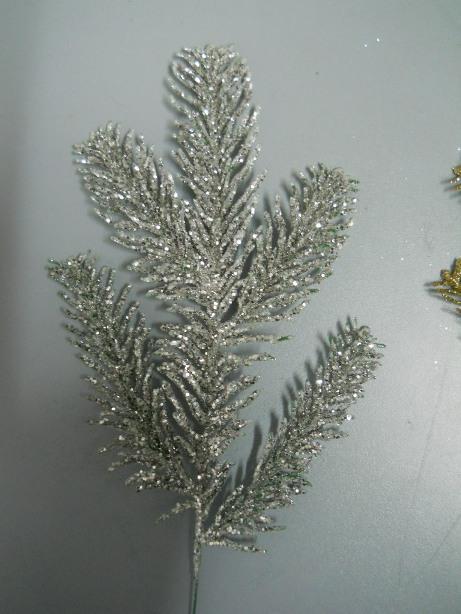Ramo Abete Glitterato   lungo cm. 30 color argento