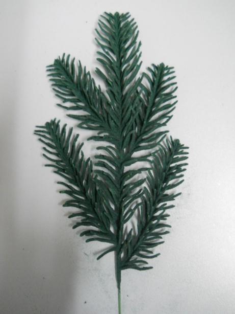 Ramo Pino Floccato lungo   cm. 30 color verde