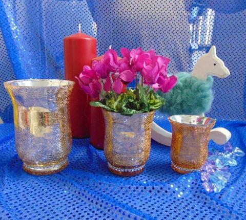 Vasetto vetro  Crush Oro in 3 misure