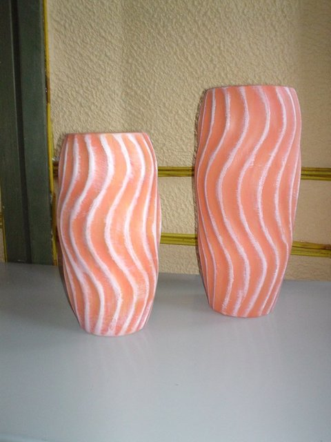 Vaso Arancione H 21 e H 27 Ceramica a Torciglione