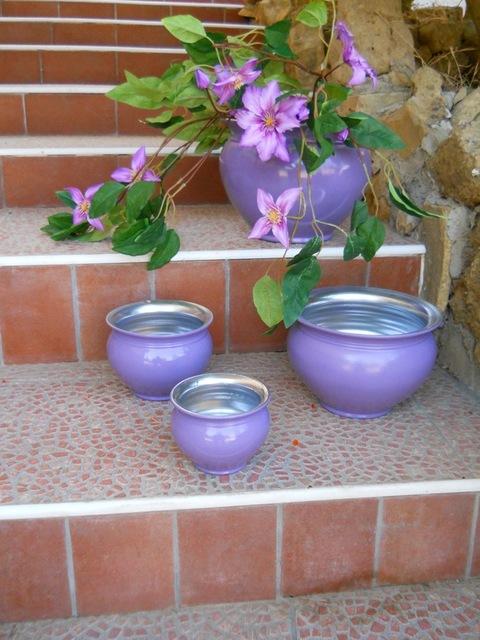 Porta piante smaltati a freddo set x 4 per fioristi, wedding e Arredatori