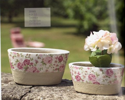 Porta piante ovale x 2  in ceramica - Linea Romantic Rose