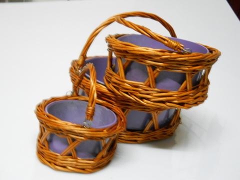 Cesti tondi x 3 in vimini  con latta colorata - Sconti per Fioristi e Aziende