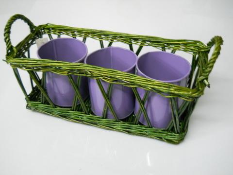 Cesto vimini rettangolare  con 3 vasi  in latta