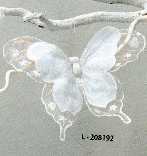 Farfalla Bianca x 3  Floccate con clip in nylon cm. 25 x 20