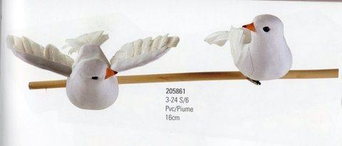 Colombe x 6 con clip cm. 16  in 2 modelli