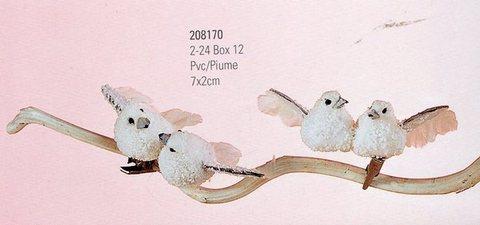 Coppia Colombine bianche cm. 6x6 con clip