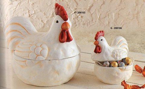 Gallo in terracotta contenitore con coperchio