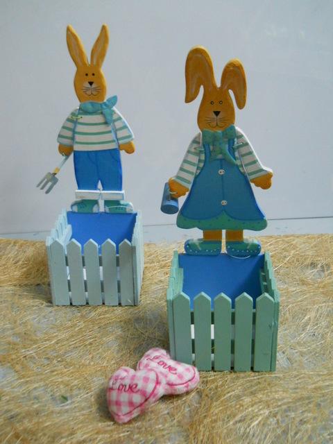 Conigli legno Maschio e femmina con portavaso per fioristi e wedding