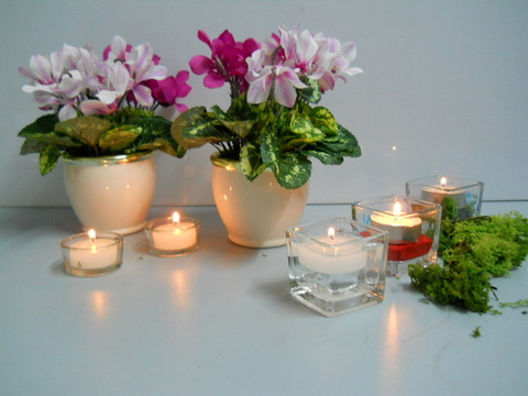 Porta tea light vetro  dm. 5,5 Conf. x 12